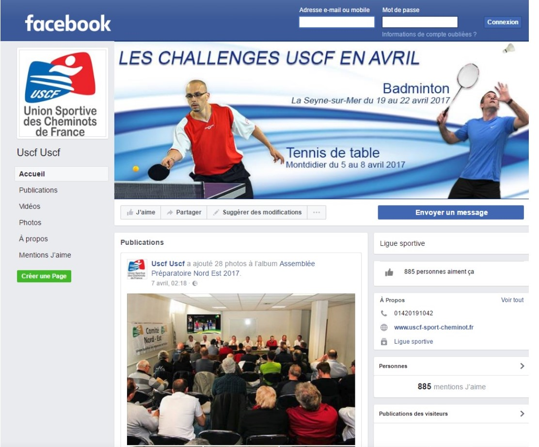 Page Facebook Officielle de l'USCF